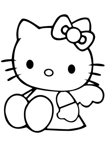 cute hello kitty coloring page  free printable coloring pages