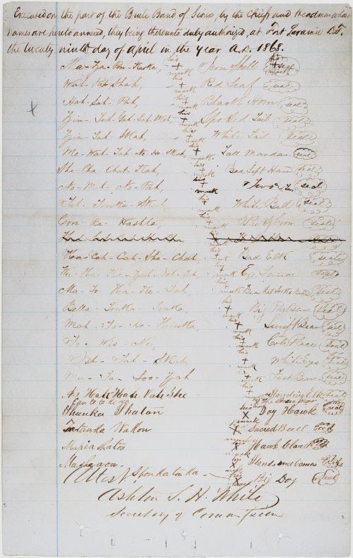 Firmas (marcas en forma de cruz) de los jefes indios en el Tratado de Fort Laramie.