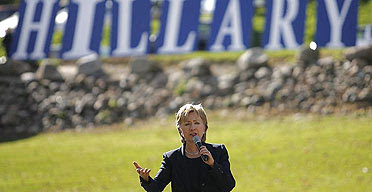 Hillary Clinton attends a campaign event in Carroll, Iowa.