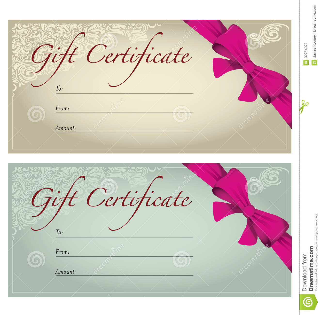 Gift Voucher / Coupon Template. Red Bow (ribbons) Stock Images ...