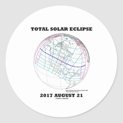 Total Solar Eclipse 2017 August 21 North America Classic Round Sticker