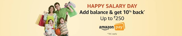 Add Amazon Pay Balance and get 10% cashback up to ₹250