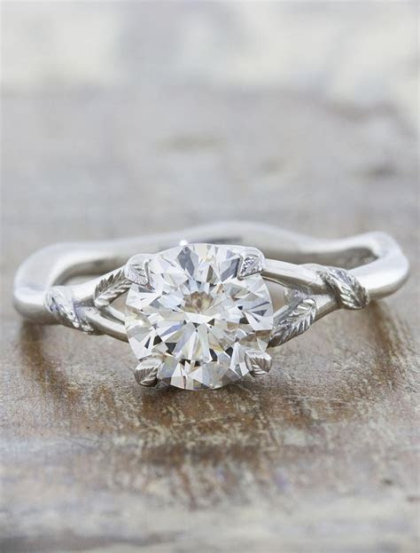 Pembroke: Leaf Prong Diamond Engagement Ring, Rose Gold