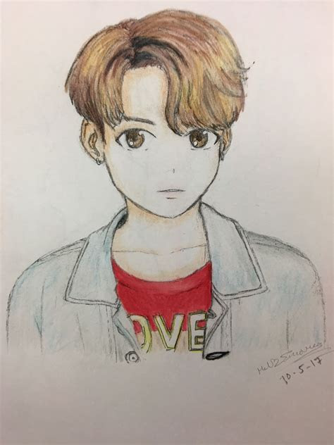 bts jeon jungkook fanart dna drawingcolored anime  mel