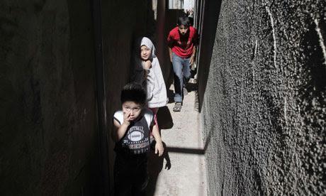 Palestinian children in the Jabalia refugee camp, northern Gaza Strip