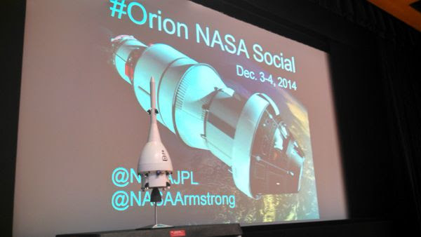 A small model of the Orion EFT-1 spacecraft on display inside the Von Kármán Auditorium at NASA's Jet Propulsion Laboratory near Pasadena, California...on December 3, 2014.
