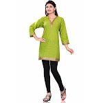 Green 3/4 Sleeve Indian Cotton Kurti/Tunic with Golden neckline-X-Large