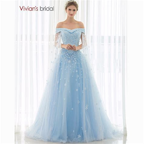 Vivian's Bridal Blue Wedding Dress 2016 Strapless Flower