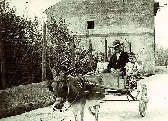 Öregember szamárral és két kisfiúval