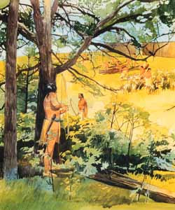 Artist's illustration of an attack on a Protohistoric Oneota village.    Residents of the Morton site in Fulton County were subjected to raids periodically. The reasons for conflict are not clear. Image Courtesy of museumlinkIllinois.