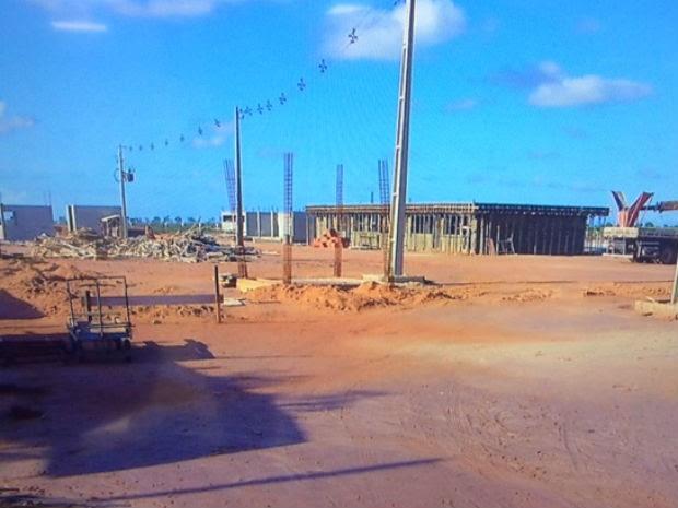 Obras estão paradas desde terça-feira (7) (Foto: Reprodução/Inter TV Cabugi)
