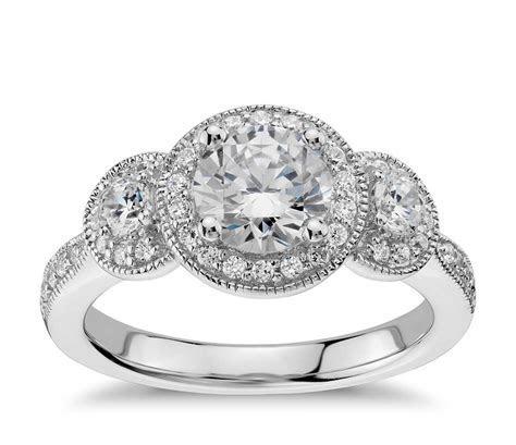 Three Stone Milgrain Halo Diamond Engagement Ring in 14k
