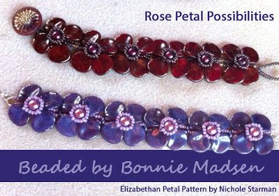 Wildly Bohemian - News of the Bead World: Rose Petal Bracelets - Submitted by Bonnie Madsen