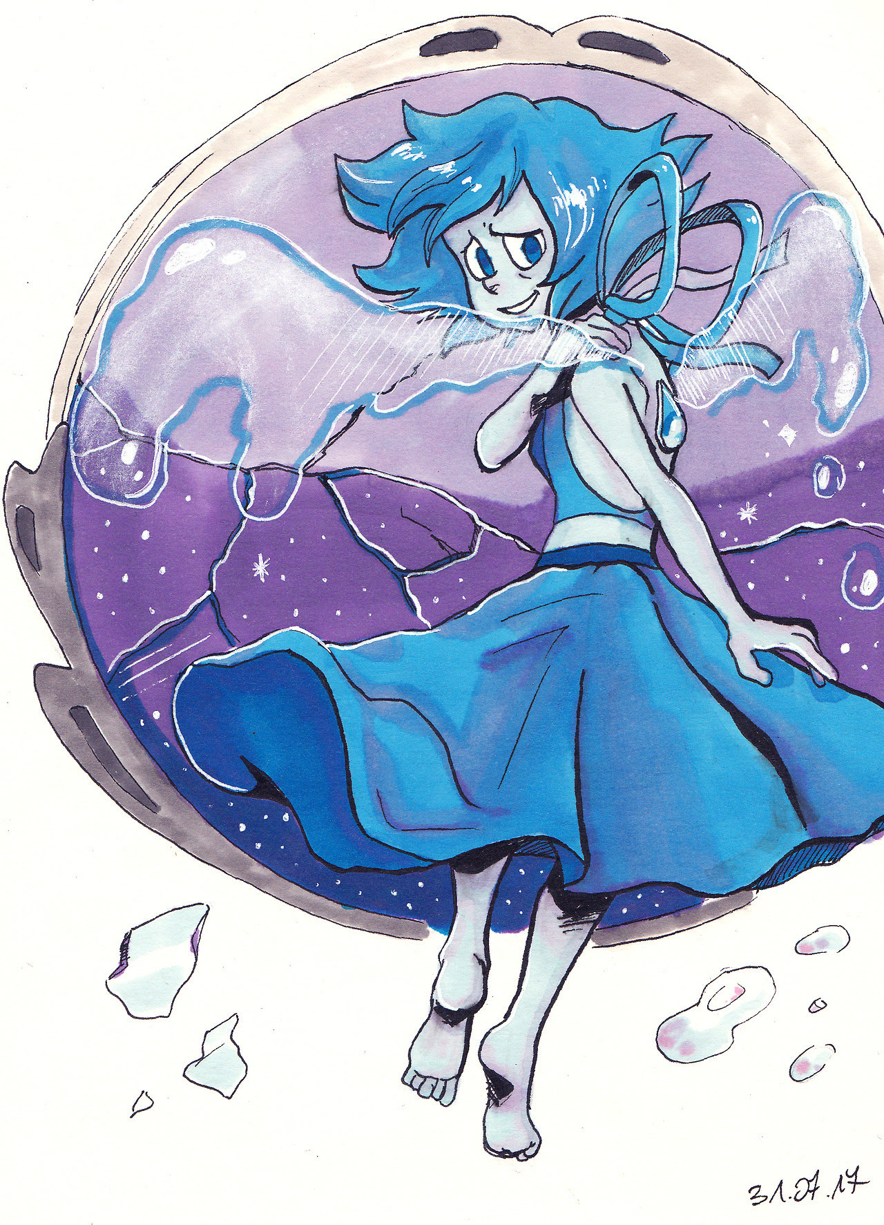 Finally I've drawn something new, instead only Undertale related arts xD It was first time when I drew Lapis Lazuli. I really like her design ;w;
