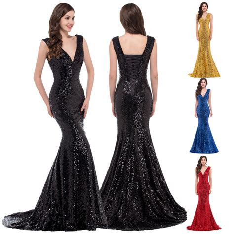 sequins women mermaid long prom wedding evening gown