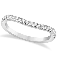Diamond Accented Contoured Wedding Band 14k White Gold 0