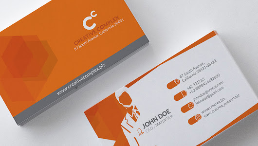 Modern Polygon Business Card with Businessman Icon Image