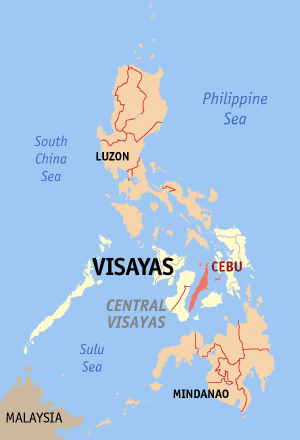 Map of the Philippines with Cebu highlighted