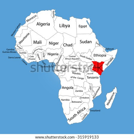 Kenya Vector Map Silhouette Isolated On Africa Map. Editable ...
