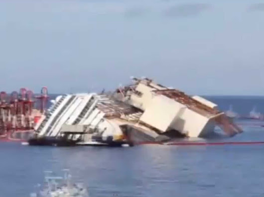 The Entire 19-Hour Process Of Flipping The Costa Concordia In One Short GIF