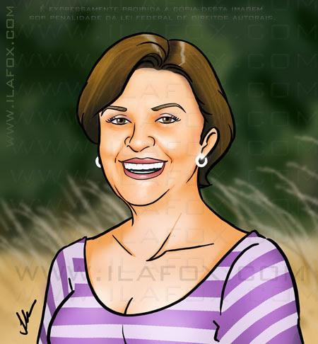 Desenho, Caricatura, senhora sorridente de cabelo curto com blusa listrada, Ila Fox