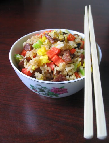 Chinese Sausage Fried Rice with Vegetables