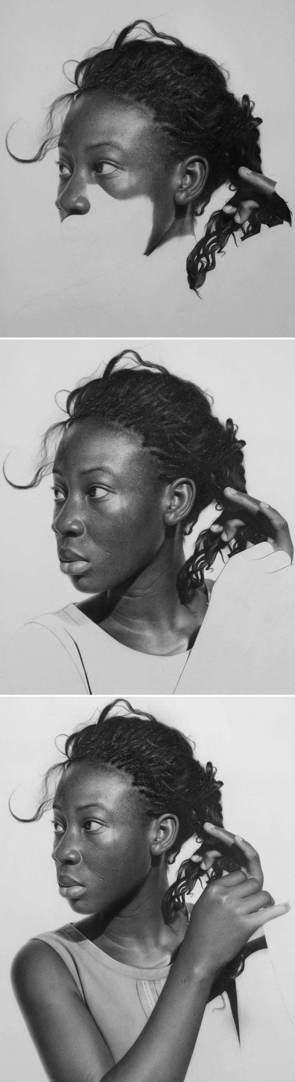 Retratos hiperrealistas de grande porte renderizados com grafite e carvão 04