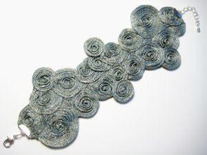 Gray stitched bracelet