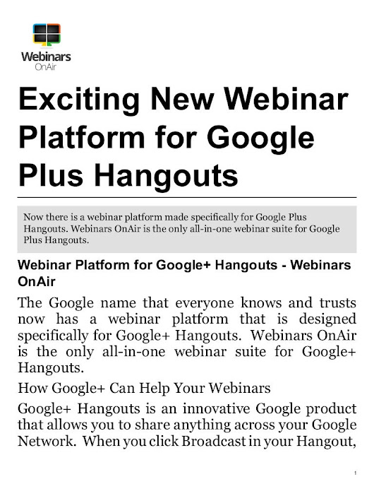 Turn Your Google+ Hangouts Into Webinars With This Exciting New Web...