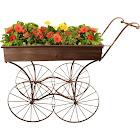 Wald Imports Retro Rolling Display Cart Planter, Brown