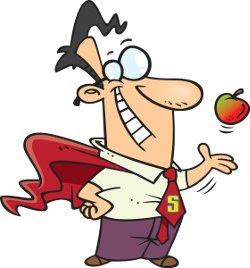 a teacher wearing a cape