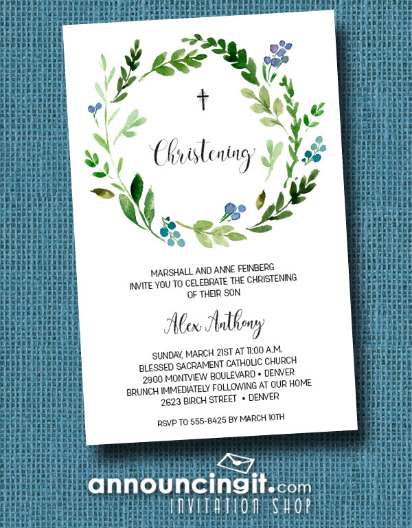 Blue Buds Wreath Baby Boy Christening Invitations Announcingitcom