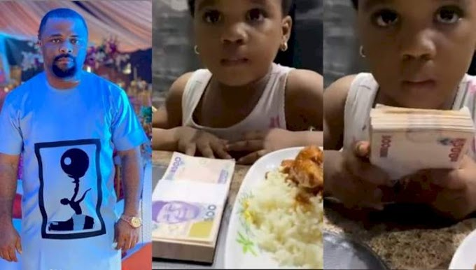 """""""This is not my blood"""" - Actor Dike Osinachi reacts after his little daughter chose N50k over a plate of food (Video)"""