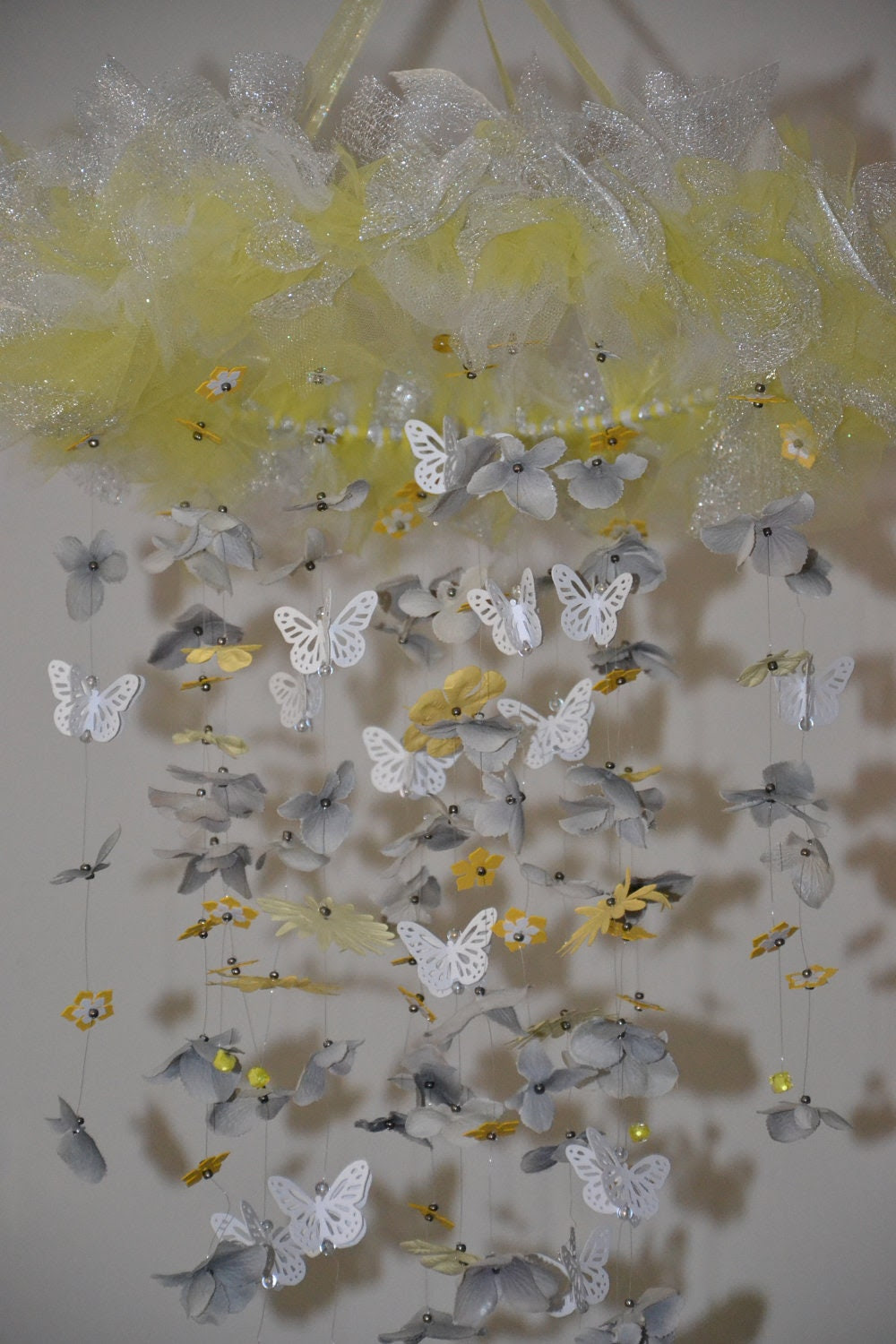 Yellow/Gray Butterfly mobile, Nursery Decor, Baby Shower Gift, Chandelier