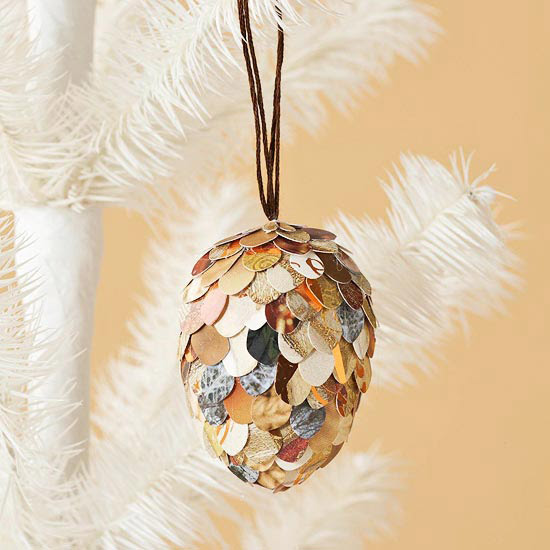 Christmas Card Pinecone Ornament