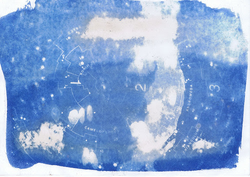 Postcard/Star Atlas :  Cyanotype (used as index for recorded disc) by Russell Moreton