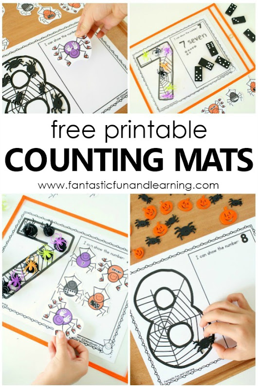 Spider Counting Numbers Printable Mats - Fantastic Fun & Learning
