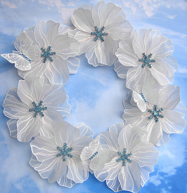 Frosty Flowers and Butterflies Wreath