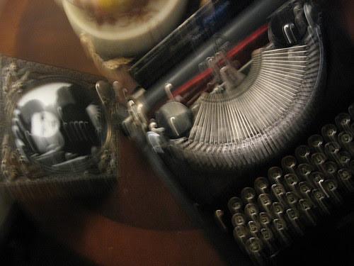 Old-Fashioned Typewriter & Girl Photo
