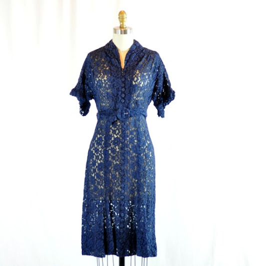 Vintage 1940s Dress  Navy Sheer Lace  28 by RetroThreadzVintage