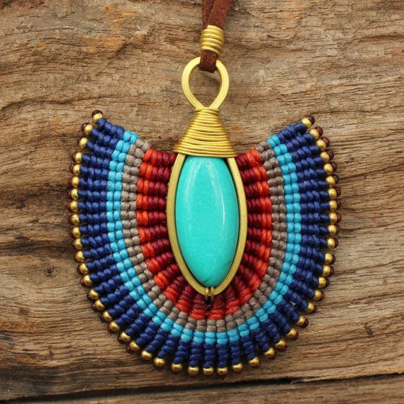 Woven cotton cord charm with turquoise bead and by cafeandshiraz, $54.00