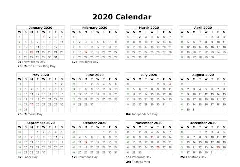 Calendar 2020 Monthly Printable Free
