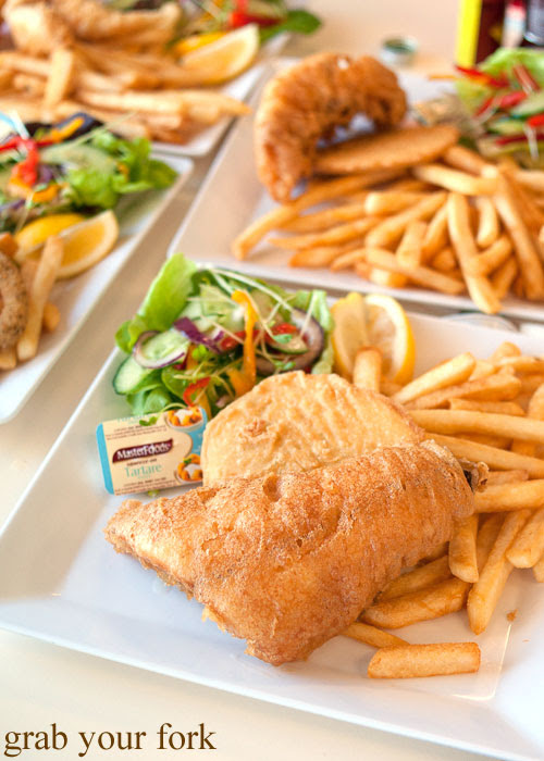 Deep fried snapper with chips and salad at Kangaroo Island Fresh Seafoods and Takeaway