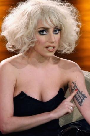 lady gaga tattoos on her back. Lady Gaga Tattoo on Arm