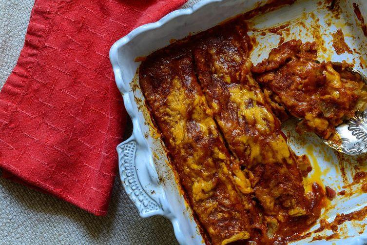 Swiss Chard and Zucchini Enchiladas
