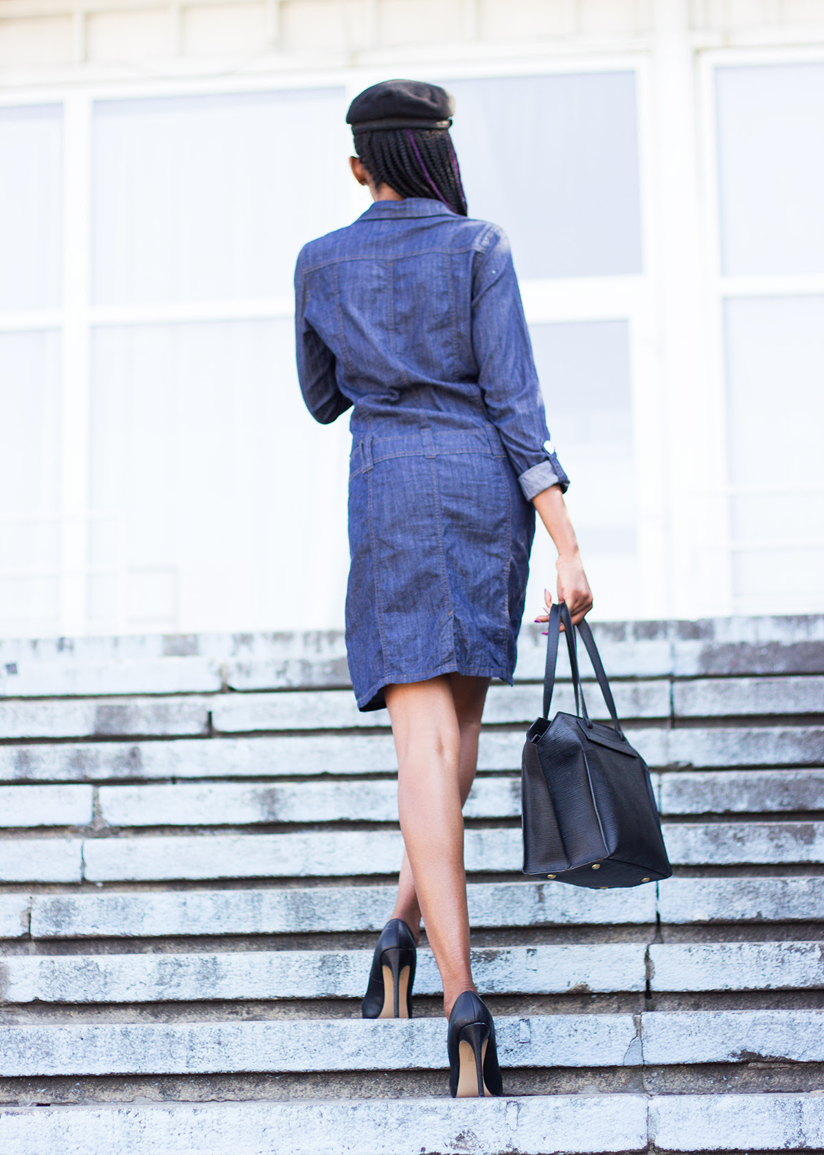 how to style a denim shirt dress