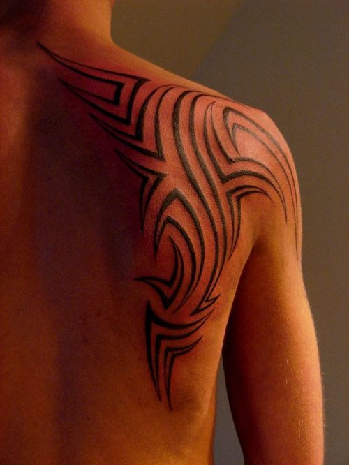 Simple Lovely Black Tribal Tattoo On Shoulder Tattoomagz