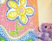 Sale- FLOWER PAINTING, 11  x 14, Children Decor, Nursery Decor, Original Painting