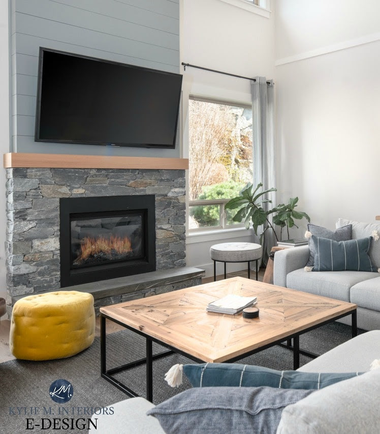 Livingroom Vaulted Ceiling Stone And Shiplap Fireplace With