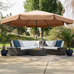 Backyard Patio Market Patio Umbrella with Cross Base, Tan